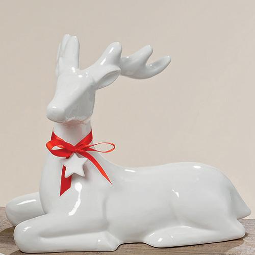 Hirsch Figur Wei 30 Cm Freie Wahl Porzellanhirsch