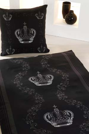 bettw sche baumwoll satin krone schwarz silber. Black Bedroom Furniture Sets. Home Design Ideas