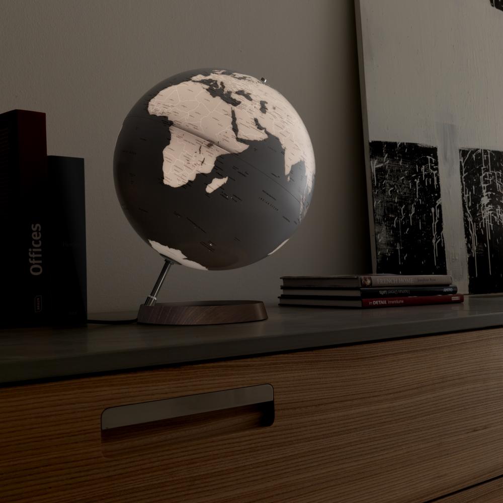 leucht globus weltkugel globen moderne geschenkidee wei silber zum aufstellen ebay. Black Bedroom Furniture Sets. Home Design Ideas