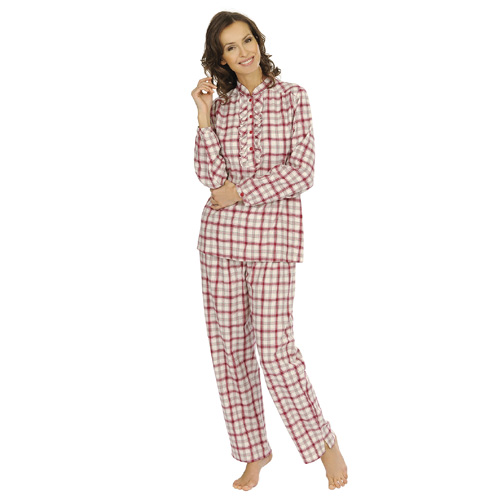 comtessa damen flanell schlafanzug kariert pyjama. Black Bedroom Furniture Sets. Home Design Ideas