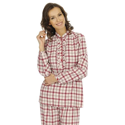 comtessa damen flanell schlafanzug kariert pyjama schlafanz ge nachtw sche karo ebay. Black Bedroom Furniture Sets. Home Design Ideas