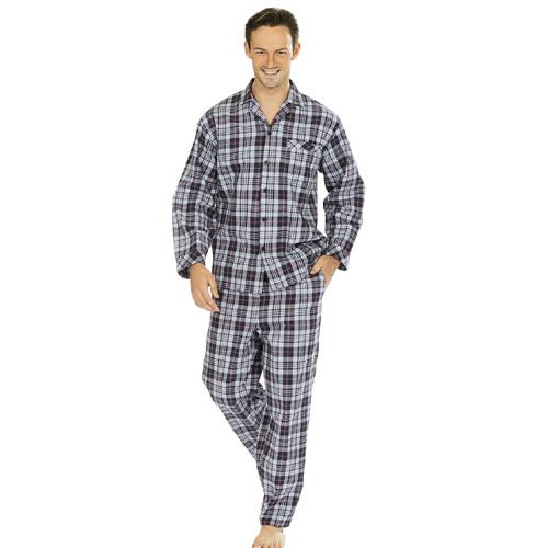 comte herren flanell schlafanzug blau kariert flanell schlafanz ge pyjama karo ebay. Black Bedroom Furniture Sets. Home Design Ideas