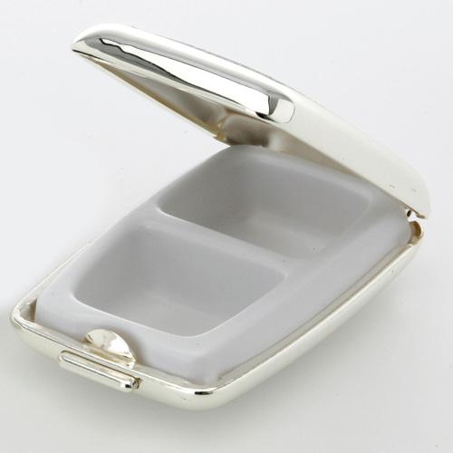 Pillendosen Metall Eckig Silber mit Rillen drei Fächer Reise Silberdose Herren