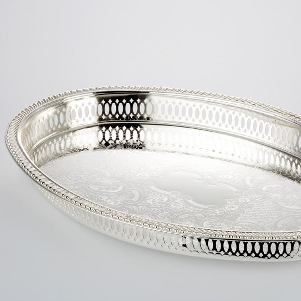 Ovales Tablett mit seitlichen Ringen 50x30cm