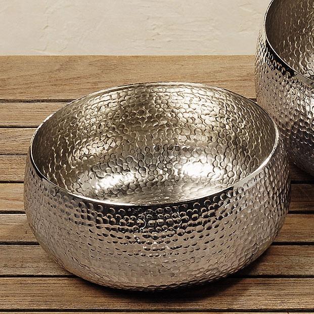 Dekoschale silber metall 24 cm geh mmert for Silberschale dekorieren
